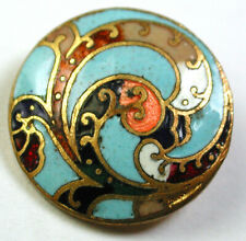 Antique Brass & Champleve Enamel Button with Pretty Design - 9/16""