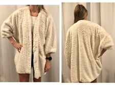 New Anthropologie Cream Faux Fur coat 3/4 Length Sleeves