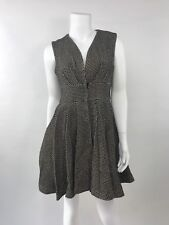 NWT Sweet Sinammon Tweeted Dress SZ M Black/gold Fit To Flair V Neck