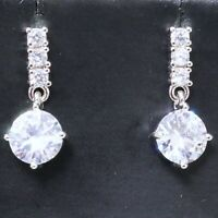 Sparkling Cubic Zirconia Drop/Dangle Earring Women Jewelry 14K White Gold Plated