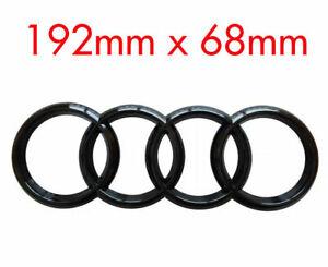 AUDI  GLOSS BLACK  REAR BLACK RINGS BADGE  LETTERS  BOOT 192x68mm