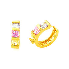 24K Gold Plated Earrings Hoop Square Lady Costume Jewelry Crystal Multi-colour
