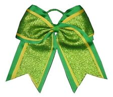 "NEW ""SHIMMER Green"" Cheer Bow Pony Tail 3"" Ribbon Girls Hair Bows Cheerleading"