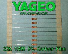 Yageo 22K 1/4W 5% Carbon Film Resistors, Qty 200