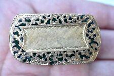 Vintage Italian Green Enamel Gold Wash Gilt Brass Flowers Pill Box Italy