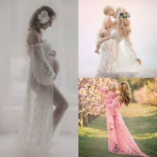 Pregnant Shoulder Long Maxi Lace Gown Photography Prop Women Maternity Dress