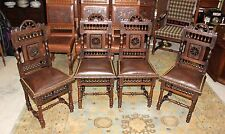Beautiful Set Of 4 French Antique New Upholstered Brittany Carved Chairs