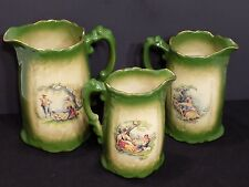 K-H Pottery Staffordshire England Courting Couple 3 Graduating Pitchers