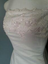 NWT Michelango Davids Bridal Wedding Dress Strapless White Bead work Size 18 WOW