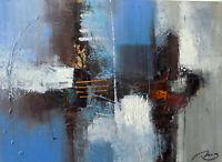 Quadro astratto moderno arredo cm 60x80 dipinto tela materico grigio blu caldo
