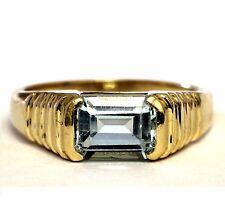 14k yellow gold women's blue topaz ring 4.5g estate vintage antique