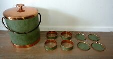 Coppercraft Guild Olive Green Leather Ice Bucket, (4) Drink Rings, (4) Coasters