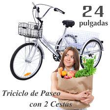 """Plata 24"""" Triciclo de Paseo 2 Cestas Delantera Trasera Bicicleta Adultos Compras"""