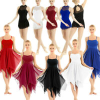 Women's Lyrical Dance Dress Leotard Ballet Gymnastics Bodysuit Dancewear Costume