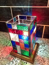 """Vtg Stained Glass Handcrafted Square Desktop  Night Light Table Lamp Approx 8.5"""""""
