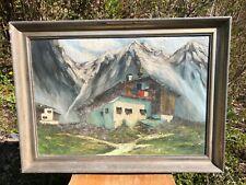 Antikes Ölgemälde Bild Malerei signiert Berge Hütte Landschaft Wandern