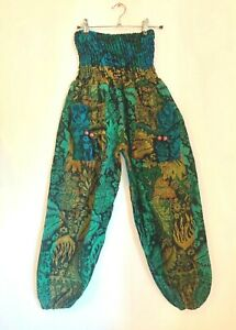 Flower Fleece Patterned Boho Festival Harem Nattan Trousers Green Blue Size 6-14