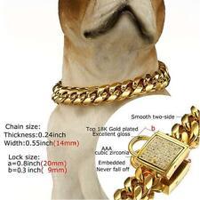 14mm Gold Stainless Steel Curb Chain Pet Dog Choker Collar Dobermann Pit Bull