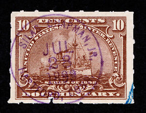 DOCUMENTARY SCOTT #R168 10¢ BATTLESHIP HANDSTAMP CANCEL - SILAS CHAPMAN JR 1899