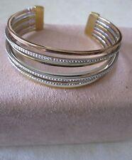 Tone/ Pave Stones Cuff Bracelet- $165 Nwt Michael Kors Brilliance Statement Tri