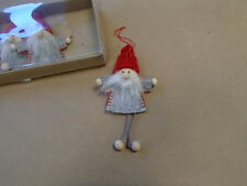 Scandinavian Swedish Danish Norwegian Christmas 4 Santa Gnome Elf Ornaments #902