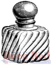 Deep Red Stamps Vintage Perfume Bottle Rubber Cling Stamp