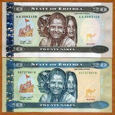 SET Eritrea, 20 + 20 Nakfa 1997 and 2012,  P-4-New, AA-Prefix, UNC > Children