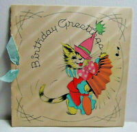 1930's Anthropomorphic Cat playing an Accordian, Birthday Greeting Card, Vollani