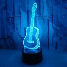 3D LED illusion guitar Night Light Lamp decorative 7 Color gift Musician artwork