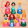 7x Disney Princess Snow White Merida Ariel Jasmine Doll Toy Cake Topper Figurine