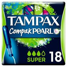 Tampax Compak Pearl Super Tampons Applicator Women Leakage Protection Pack of 18