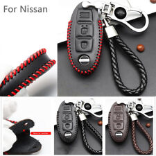 1X Genuine Leather Black Car Key Case Wallet Holder Remote Key Cover for Nissan