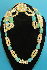 BEAUTIFUL VINTAGE  PEARL & TURQUOISE NECKLACE WITH 9ct YELLOW CLASP