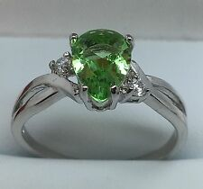 Light Green Pear C.Z Sliver Plated Ring Size U 1/2 (62 3/4)