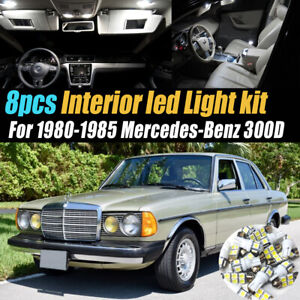 8Pc Car Interior LED White Light Bulb Kit for 1980-1985 Mercedes-Benz 300D
