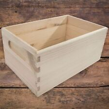 Small Unpainted Pine Wooden Storage Box With Handles Open Top Non-Lidded DIY