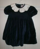 Vintage  PETIT AMI sz 9 Months Blue Velour SMOCKED DRESS