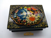 VINTAGE RUSSIAN HAND PAINTED LACQUER BOX BEAUTIFUL JEWELLERY TRINKET BOX GIFT