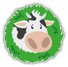 """Cow Head Organic Food Car Bumper Sticker Decal 5"""" x 5"""""""