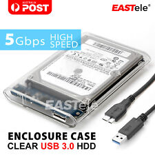 EASTele Transparent 2.5 inch USB 3.0 External Hard Drive HDD Enclosure Case SATA