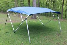 NEW VORTEX SQUARE TUBE FRAME 4 BOW PONTOON/DECK BOAT BIMINI TOP 10' BLUE 91-96""