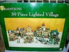 Vintage 39 Piece Traditions Lighted Christmas Village - Complete