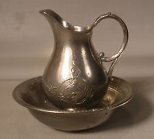 Doll House Miniature White Metal Pitcher and Bowl