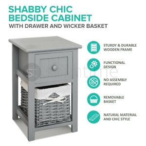 Grey Shabby Chic Bedside Unit Tables Drawers Cabinet + Wicker Storage Wooden UK
