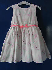 18-24 Months Baby Girl White Dress Pink+Light Green Floral Print+Pink Ribbon Bow