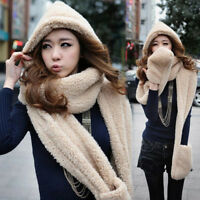 EE_ AM_ 3 IN 1 WOMEN WINTER WARM PLUSH HOOD SCARF SNOOD POCKET HATS GLOVES THICK