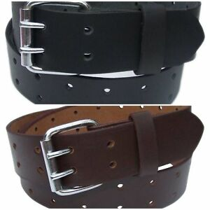 QHA Mens Double Pin Buckle Full Grain Leather Belt Casual Waist Design Q52004
