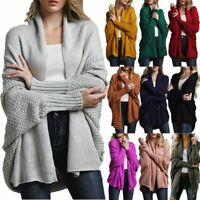 Women's Ladies Cardigan Coat Tops Chunky Knitted Oversized Sweater Jumper New