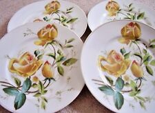 Antique Angleterre porcelain plate, YELLOW ROSES dans 3d Shape, Set of 4