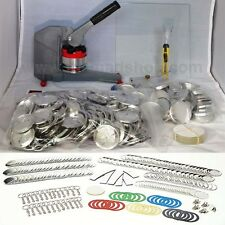 "NEW! 2 1/4"" inch BUTTON BADGE MAKER MACHINE PRESS COMPLETE SET + Sampler Pack"